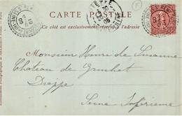 "Cachet Perlé Facteur Boitier ""St Rémy Boscrocourt 1905"" Semeuse Indice=3  Frappe Superbe Chateau Rambures - Matasellos Manuales"
