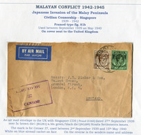 1939 Malaya Straits Settlements Airmail Censor Cover Singapore - London England - Straits Settlements