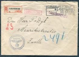 1943 Netherlands S'Gravenhage Den Hag Registered Dienstpost Deutsche Reichskommissar Cover - Zwolle - Storia Postale