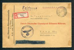 1941 Germany Deutsche Dienstpost Pilsen Bohemia Moravia Registered FELDPOST Cover - Explosivstoff A.G. Prag - Occupazione 1938 – 45