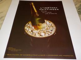 ANCIENNE PUBLICITE   CHAMPAGNE L INSTANT  TAITTINGER 2002 - Alcools