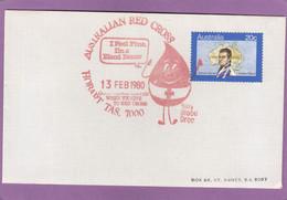 AUSTRALIAN RED CROSS. 13 FEB. 1980. BILLY BLOOD DROP. - Lettres & Documents