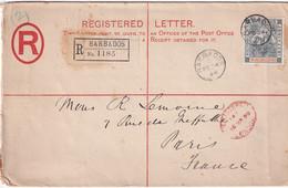 BARBADOS 1898 ENTIER POSTAL/GANZSACHE/POSTAL STATIONARY  LETTRE RECOMMANDEE AVEC CACHET ARRIVEE PARIS - Barbados (...-1966)