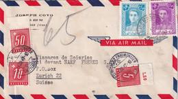 IRAN 1947 PLI AERIEN DE TEHERAN TAXE A ZURICH - Iran