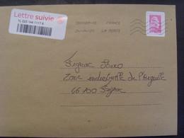 18730- Lettre Avec Vignette Marianne Yseult Pour Lettre Suivie Avec Sticker Correspondant - Sellos Autoadhesivos