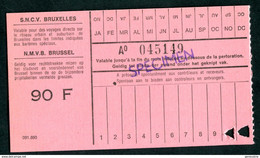 """Ticket """"SPECIMEN"""" Des Tramways SNCV """"Sté Nationale Des Chemins De Fer Vicinaux"""" Tramway - Bruxelles - Europe"""