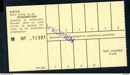 """Ticket """"SPECIMEN"""" Des Tramways SNCV """"Sté Nationale Des Chemins De Fer Vicinaux"""" Tramway - Bruxelles, Anvers, Gand - Europe"""