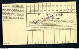 """Ticket """"SPECIMEN"""" Des Tramways SNCV """"Sté Nationale Des Chemins De Fer Vicinaux"""" Tramway De Bruxelles - Europe"""