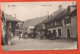 ZOD-05 RARE Le Pont Vallée De Joux, Départ De La Poste, Calèche Diligence, TRES ANIME. Circulé Timbre Manque,Rochat 7598 - VD Vaud