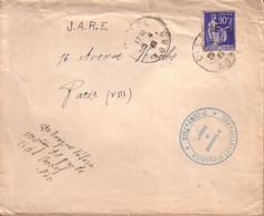 """NORD - LETTRE DE CASSEL POUR PARIS , CACHET """" TRAVAILLEURS ESPAGNOLS """" , 90 C LA PAIX SURCHARGE F REFUGIES ESPAGNOLS - WW II"""