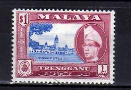 1957 Malaya Trengganu Standard Issue Sultan Ismail Nasir Ud-Din Shah Ibn Al-marhum Sultan Zainal 1$ MNH** MI 84 Administ - Trengganu
