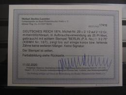 🦅 Dt. Reich 1872, Mi. 29: 2 1/2 Gr., Stempel Berlin P.A. 1875, Gepr. Signed Jäschke-Lantelme BPP, Value 80,-+++ - Usati