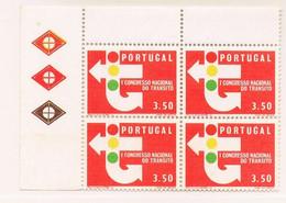 1965 - Portugal - 1st National Traffic Congress - 3$50 - Block Of 4 - Mundfil Nº 947 - Blocchi & Foglietti