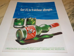 ANCIENNE  PUBLICITE LA FRAICHEUR ALLONGEE GET 27 1997 - Alcools