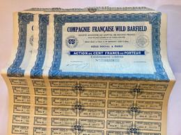 COMPAGNIE   FRANÇAISE   WILD  BARFIELD  ---------  Lot  De  3  Actions  De  100 Frs - Industrie