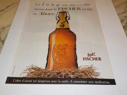 ANCIENNE PUBLICITE BIERE  D ALSACE LA FISCHER 1997 - Alcools
