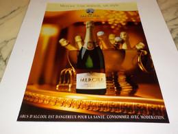 PUBLICITE  UNE MAISON UN STYLE CHAMPAGNE MERCIER 2000 - Alcools