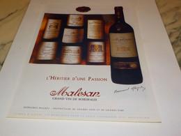 PUBLICITE HERITIER D UNE PASSIONBORDEAUX  MALESAN  2002 - Alcools