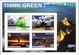 SCOTLAND - HEBRIDES - 2016 - Europa, Think Green - Imperf 4v Souv Sheet - Mint Never Used - Private Issue - Cinderella
