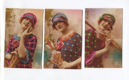 Belle Série De CPA FANTAISIE - Femme Avec Parapluie (1 Double) - A. NOYER N° 4264 - Dos Vierge - Women