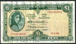 Central Bank Ireland * £1 * Prefix 77G * 13.05.1966 * P64a / E084 * Lady Lavery * VF - Ireland