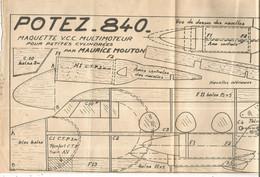 AVION , POTEZ-840 , Plan,maquette V.C.C. Multimoteur Pour Petites Cylindrées Par Maurice MOUTON,  Frais Fr 2.15 E - Non Classificati