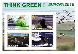 SCOTLAND - ST. KILDA - 2016 - Europa, Think Green - Imperf 4v Souv Sheet - Mint Never Hinged - Private Issue - Cinderella