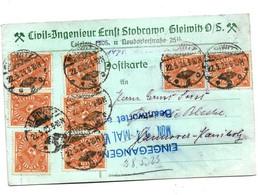 Inf355 / DEUTSCHES REICH - Posthorn MF, Mi.Nr. 227 Aus  Gleiwitz O.S. 22.5.23 Auf Firmenkarte - Covers & Documents
