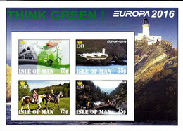 ISLE OF MAN - 2016 - Europa, Think Green - Imperf 4v Souv Sheet - Mint Never Hinged - Private Issue - Cinderella