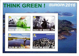 ENGLAND - ISLES OF SCILLY - 2016 - Europa, Think Green - Imperf 4v Souv Sheet - Mint Never Hinged - Private Issue - Cinderella
