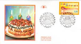 """"""" JOYEUX ANNIVERSAIRE """" Sur Enveloppe 1er Jour De 1998 . N° YT 3141. Parfait état. FDC - Ohne Zuordnung"""