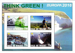 ENGLAND - ISLE OF WIGHT - 2016 - Europa, Think Green - Imperf 4v Souv Sheet - Mint Never Hinged - Private Issue - Cinderella