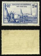 N° 458 2,50F EXPO NEW YORK 1939 Neuf N** TB  Cote 35€ - Non Classificati