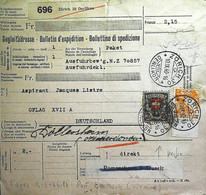 1940-Svizzera Bollettino Parchi Affrancato 15c. + 2 Fr. - Cartas