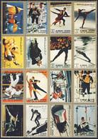 """1968-(MNH=**) Ajman Posta Aerea Serie 16 Valori Da 1r.""""olimpiade Invernale Di Grenoble"""" - Winter 1968: Grenoble"""
