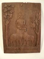 Panneau Bois Sculpté Berger Moutons Chêne Art Populaire Art Brut Art Naïf Début XXème - Popular Art