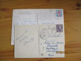 Lot De 2 Gouffre De Padirac Dont Cachet Hexagonal 5 Lignes Ondulees - 1921-1960: Modern Period