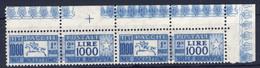 1979-(MNH=**) Italia Coppia Pacchi Postali L.1000 Cavallino Con Angolo Di Foglio - Non Classés