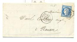 Gers , Auch , G C 212 Sur Lettre Du 21 Oct 1873 - 1849-1876: Classic Period