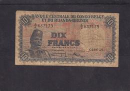 Belgian Congo Kongo Ruanda Urundi  Good 10 Fr 1958 See Scan - Otros – Africa