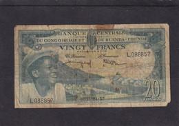 Belgian Congo Kongo Ruanda Urundi  Good 20 Fr 1957 See Scan - Otros – Africa