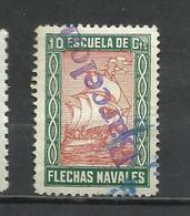 SO101- SELLO ESPAÑA GUERRA CIVIL FALANGE  ESCUELA DE FLECHAS BARCELONA.SOBRECARGA DIAGONAL, UNICO PARA VENTA. RARO. - Beneficiencia (Sellos De)