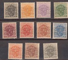 Suede 1910 Timbres De Service Yvert 19 / 29 * - Unused Stamps