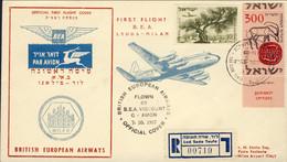 1957-Israele Aerogramma Raccomandato Illustrato I Volo BEA Lydda Milano Del 7 Ottobre Cat.Pellegrini Euro 125-150 - Luchtpost