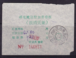 CHINA CHINE CINA SICHUAN NANCHONG 637000  POSTAL ADDED CHARGE LABELS (ACL) 存根 COUNTERFOIL 0.20 YUAN - Non Classificati