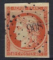FRANCE Classique: Le Y&T 5, Obl. PC 908 (Colmar), Défectueux (pli Cassant) Mais Beau D'aspect, Forte Cote - 1849-1850 Ceres