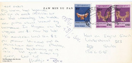 Myanmar Postkaart 1987 Met 3 Zegels (1200) - Myanmar (Birmanie 1948-...)