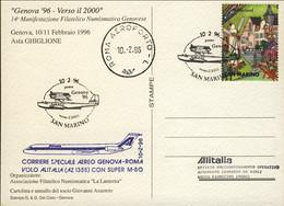 1996-San Marino Cartolina Commemorativa 70 Anniversario Dell'inaugurazione Linea Aerea Genova Ostia Napoli Palermo Volo - Brieven En Documenten