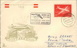 1958-Autriche Osterreich Austria Aerogramma Volo AUA Vienna Roma Del 28 Giugno - Luchtpost