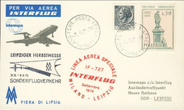 1974-cartolina Interexpo Fiera Autunnale Di Lipsia Volo Interflug IF 727 Milano Lipsia Del 7 Settembre - 1971-80: Marcofilie